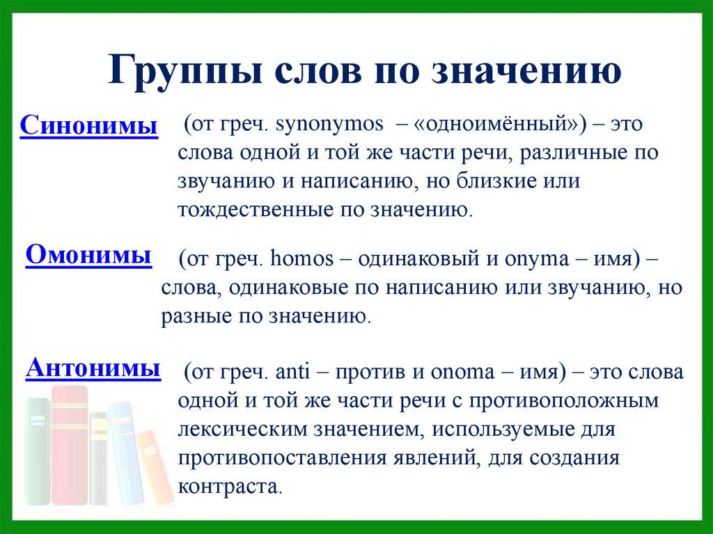 Антонимы и синонимы доклад 10