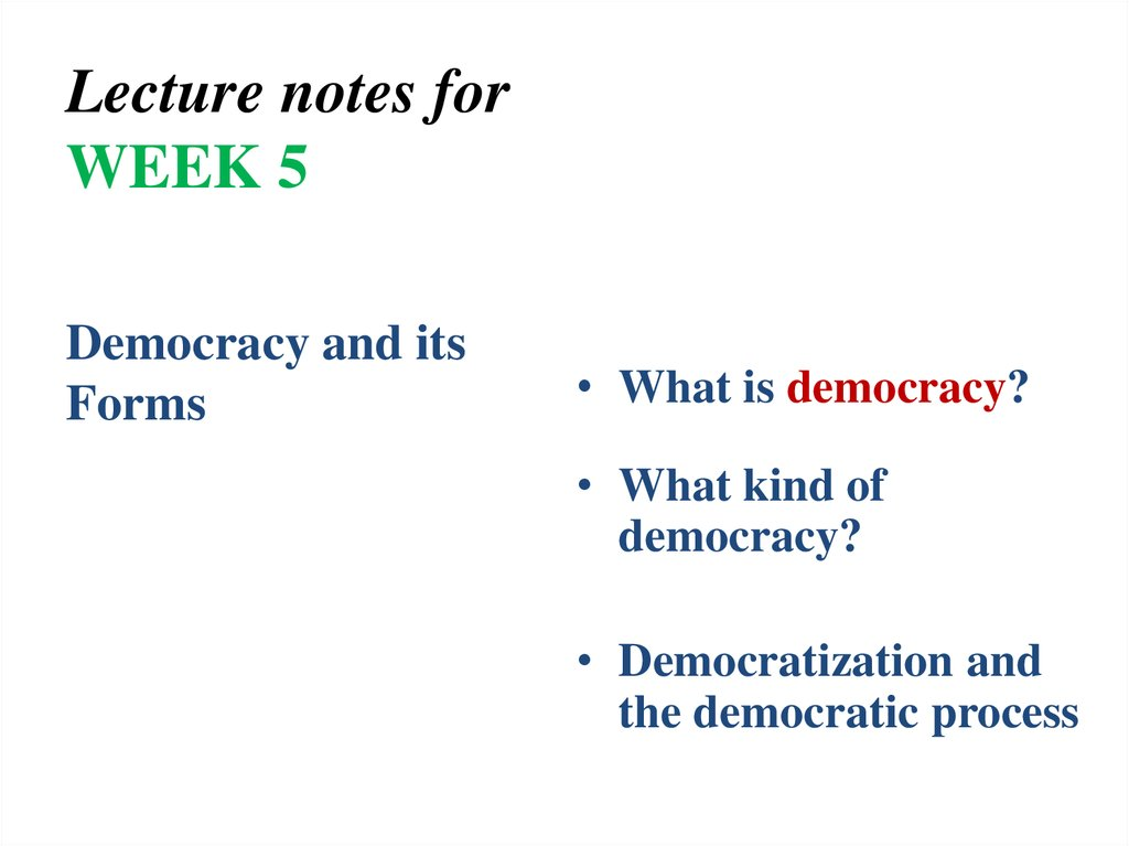 Lecture notes for WEEK 5