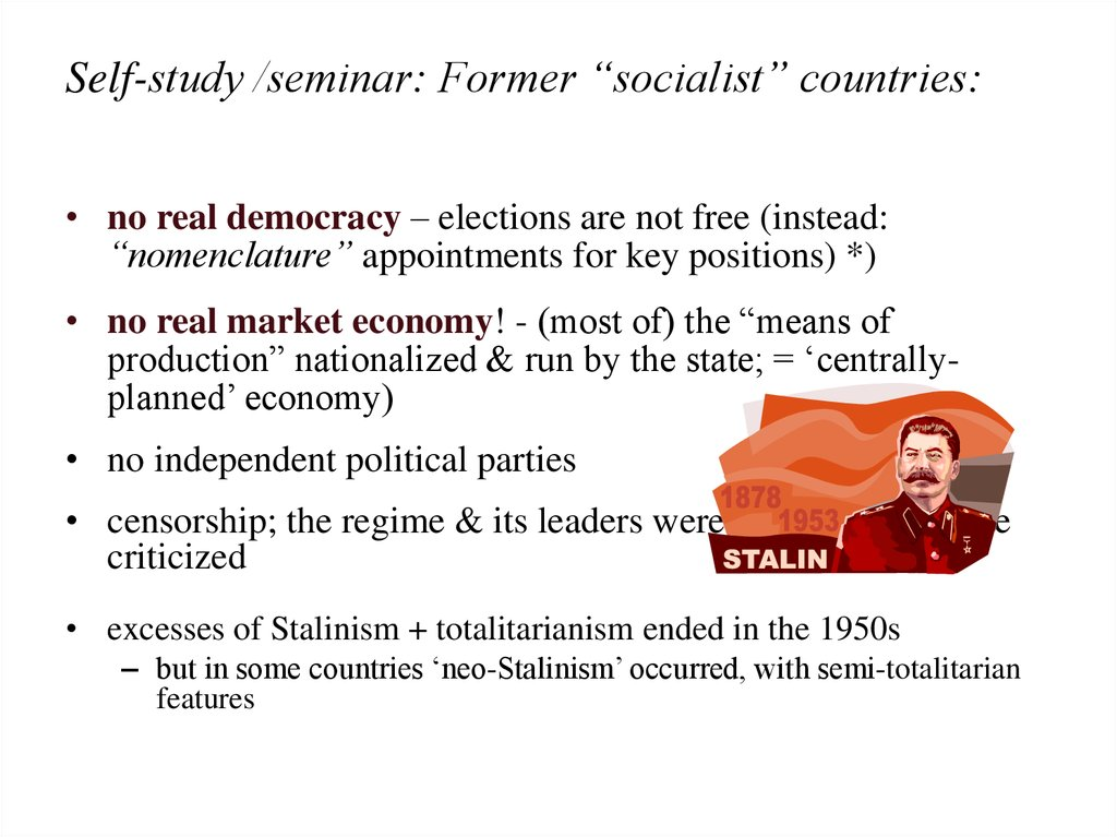 "Self-study /seminar: Former ""socialist"" countries:"