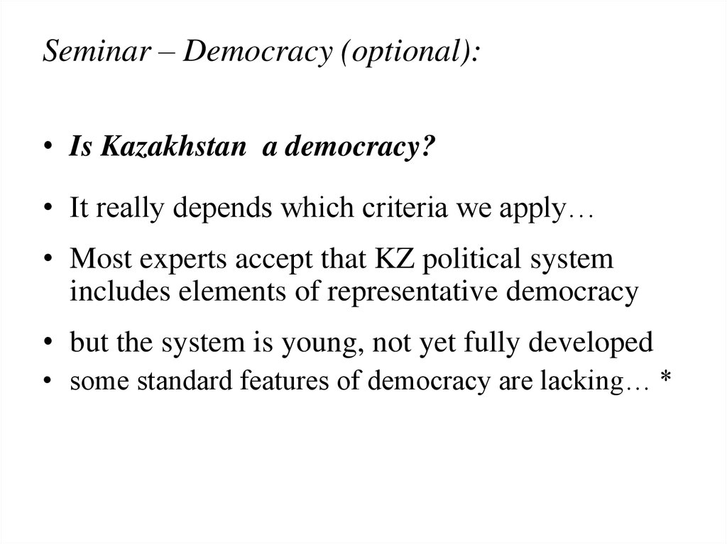 Seminar – Democracy (optional):