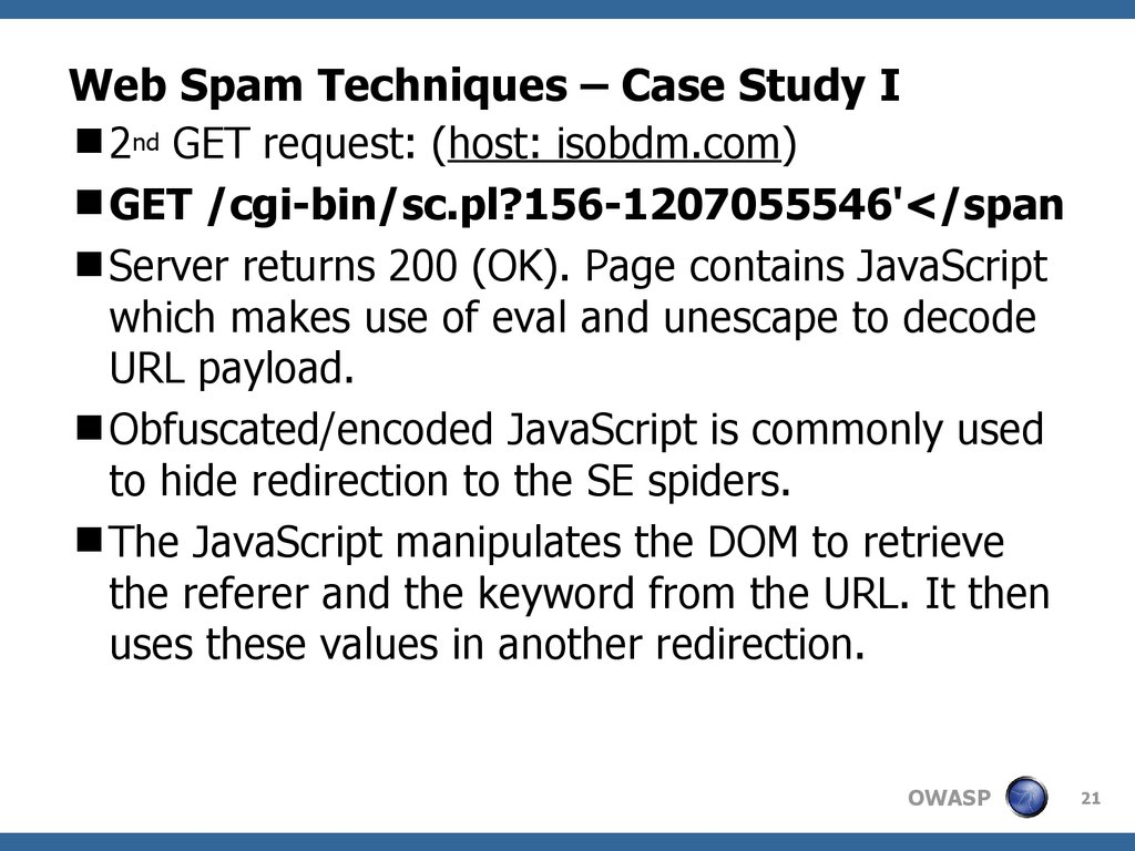 OWASP – Web Spam Techniques - online presentation