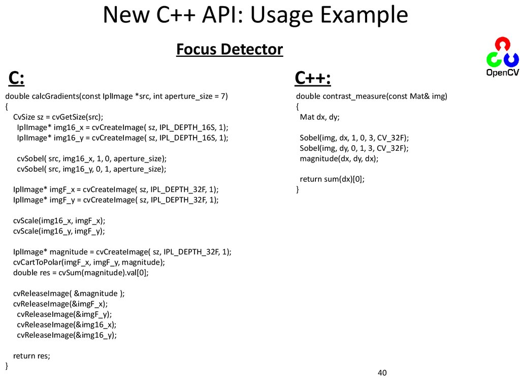 New C++ API: Usage Example