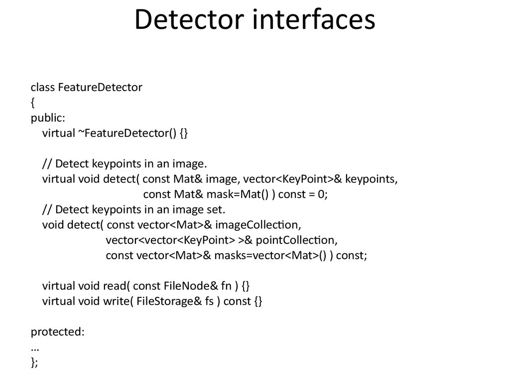 Detector interfaces