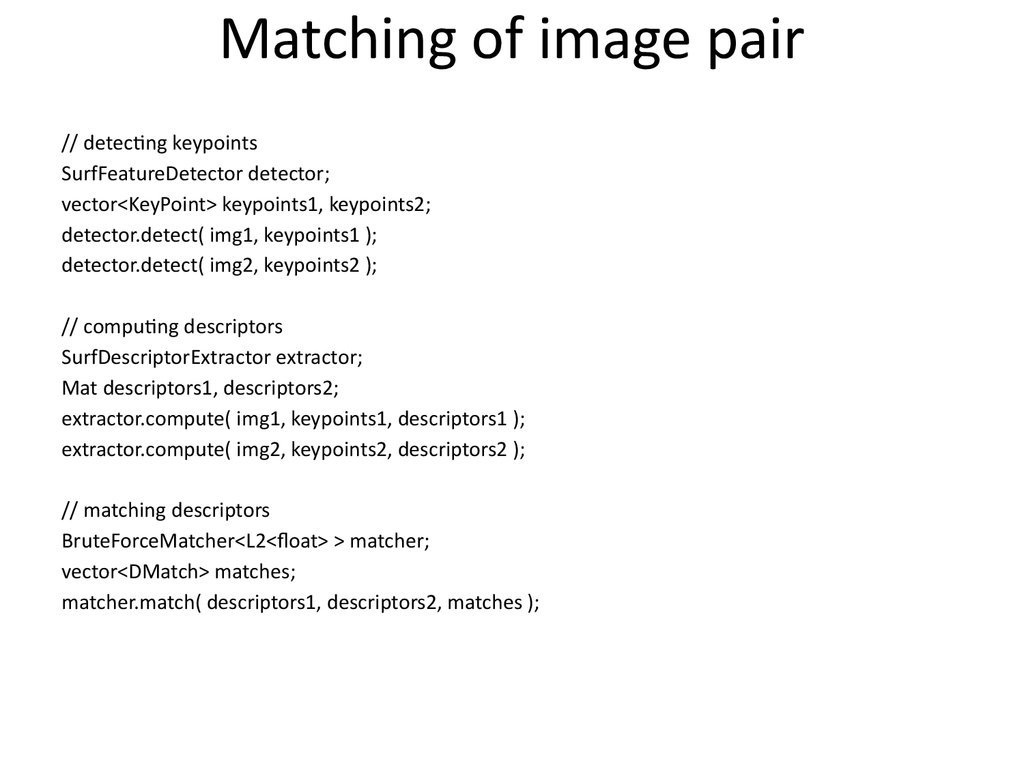 Matching of image pair
