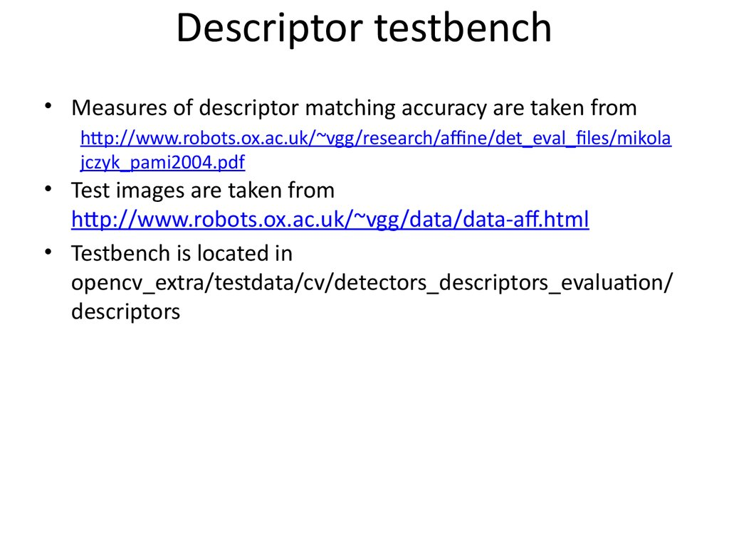 Descriptor testbench