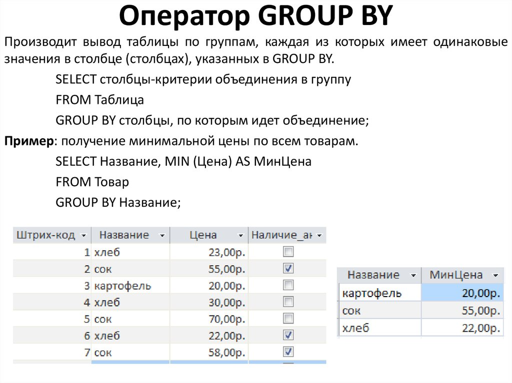 Оператор GROUP BY