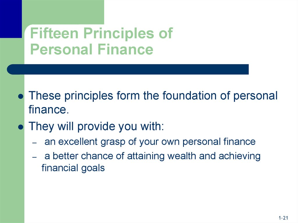 Fifteen Principles of Personal Finance