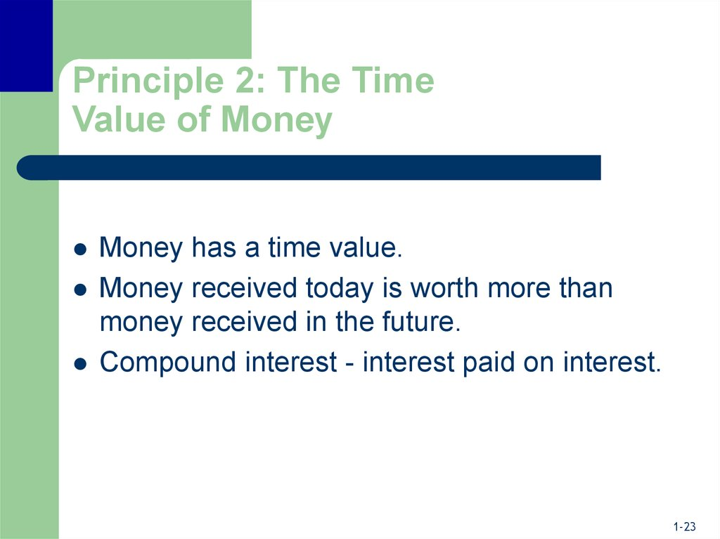 Principle 2: The Time Value of Money
