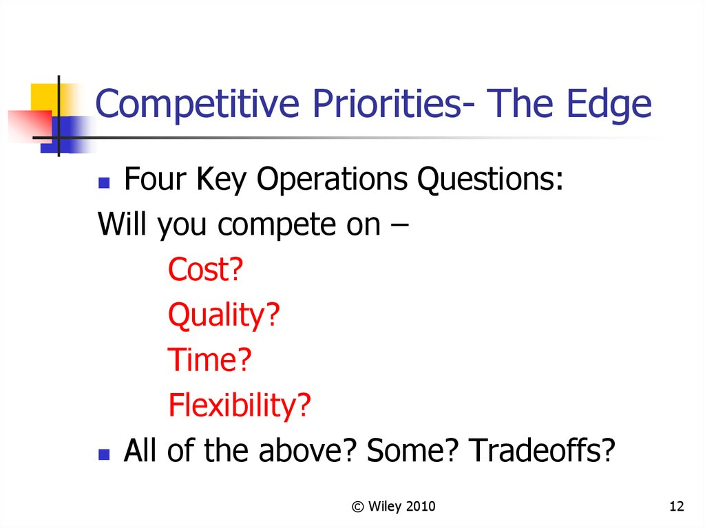 Competitive Priorities- The Edge