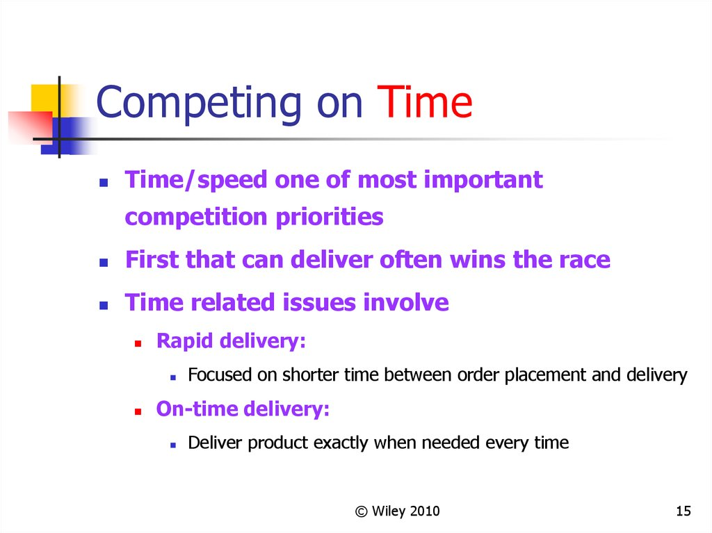 issues related on time delivery of