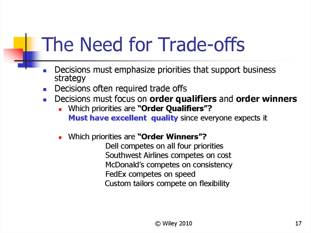 The Need for Trade-offs
