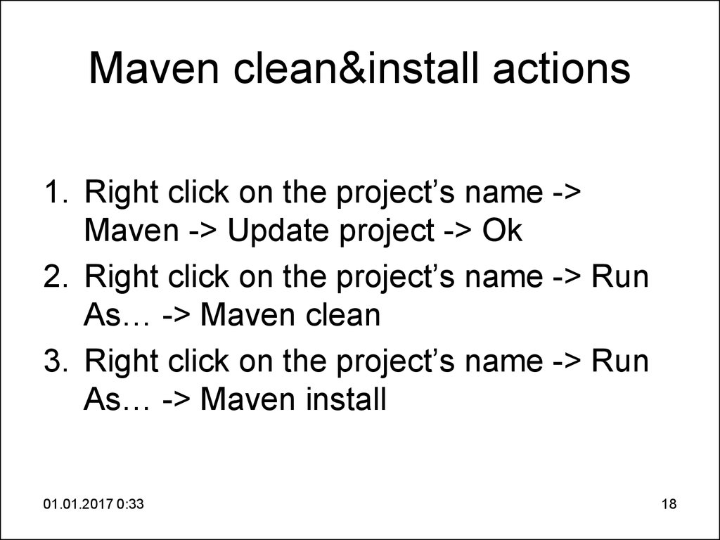 Maven clean&install actions