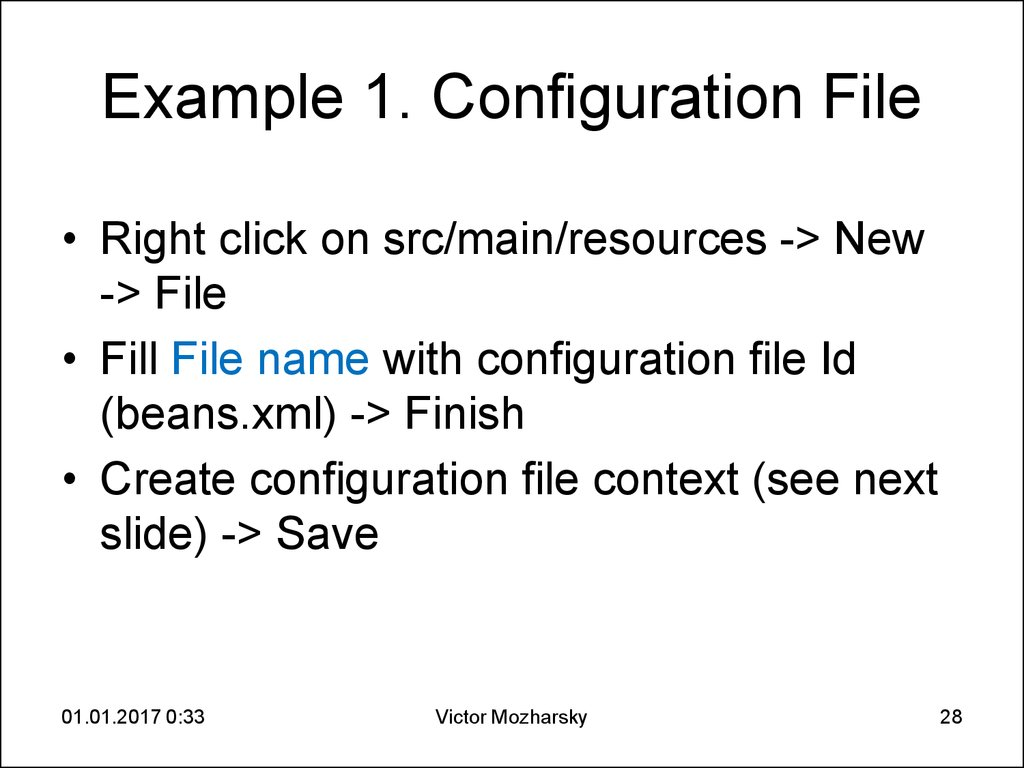 Example 1. Configuration File