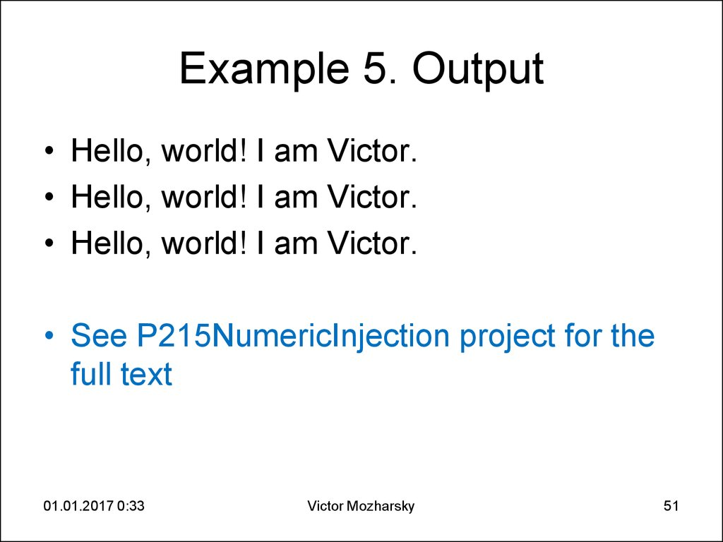 Example 5. Output