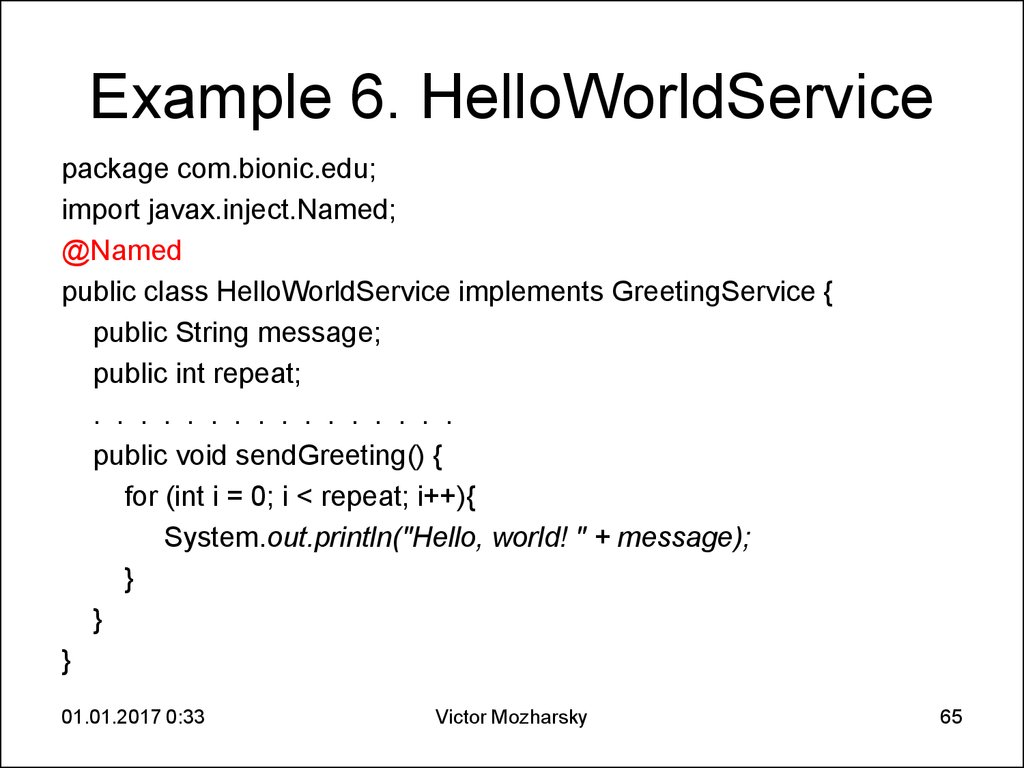 Example 6. HelloWorldService