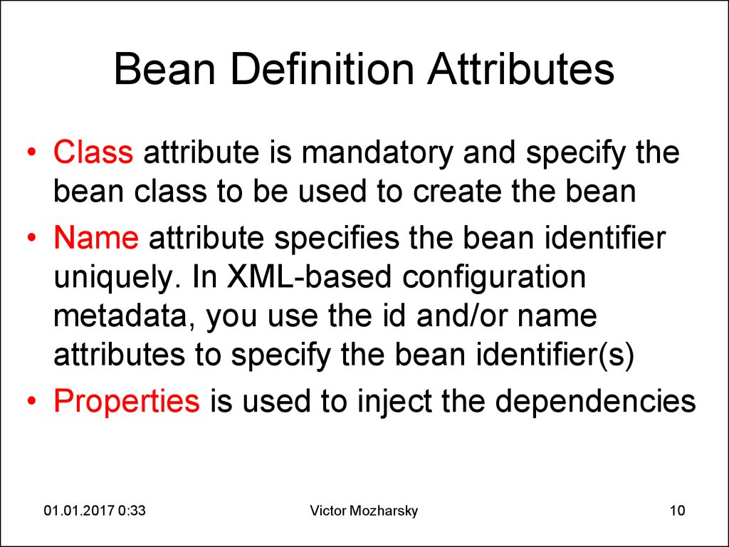 Bean Definition Attributes