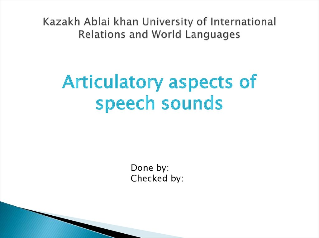 articulatory aspects of speech sounds