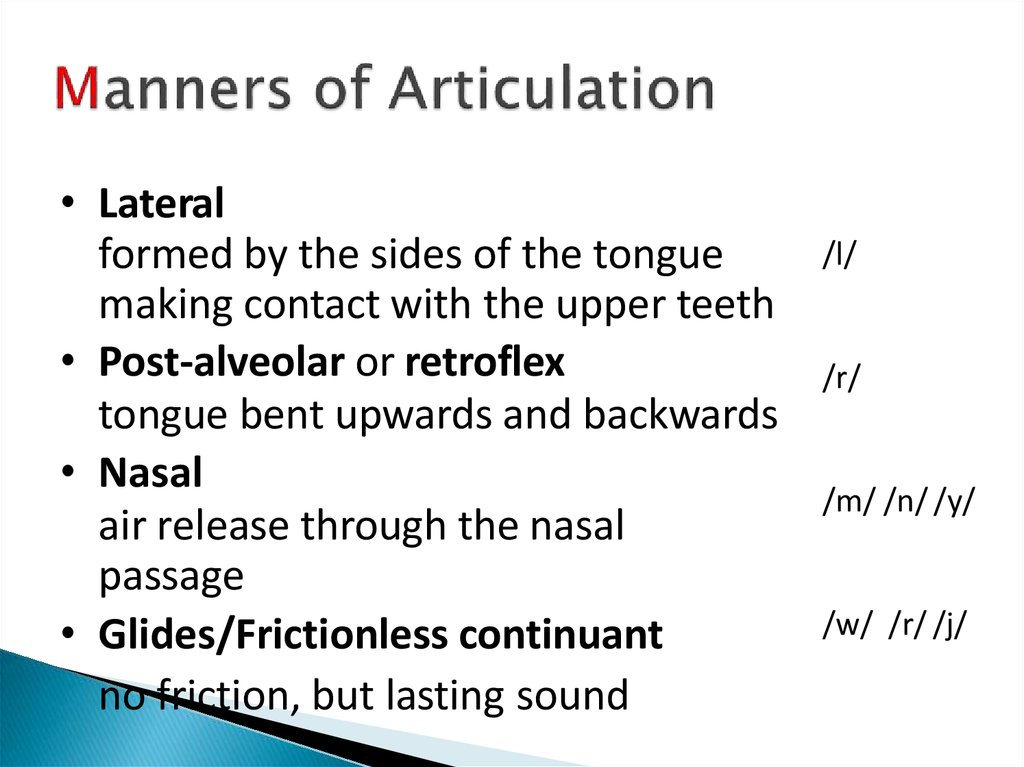 manner of articulation In linguistics (articulatory phonetics), manner of articulation describes how the tongue, lips, jaw, and other speech organs are involved in making a sound make contact.