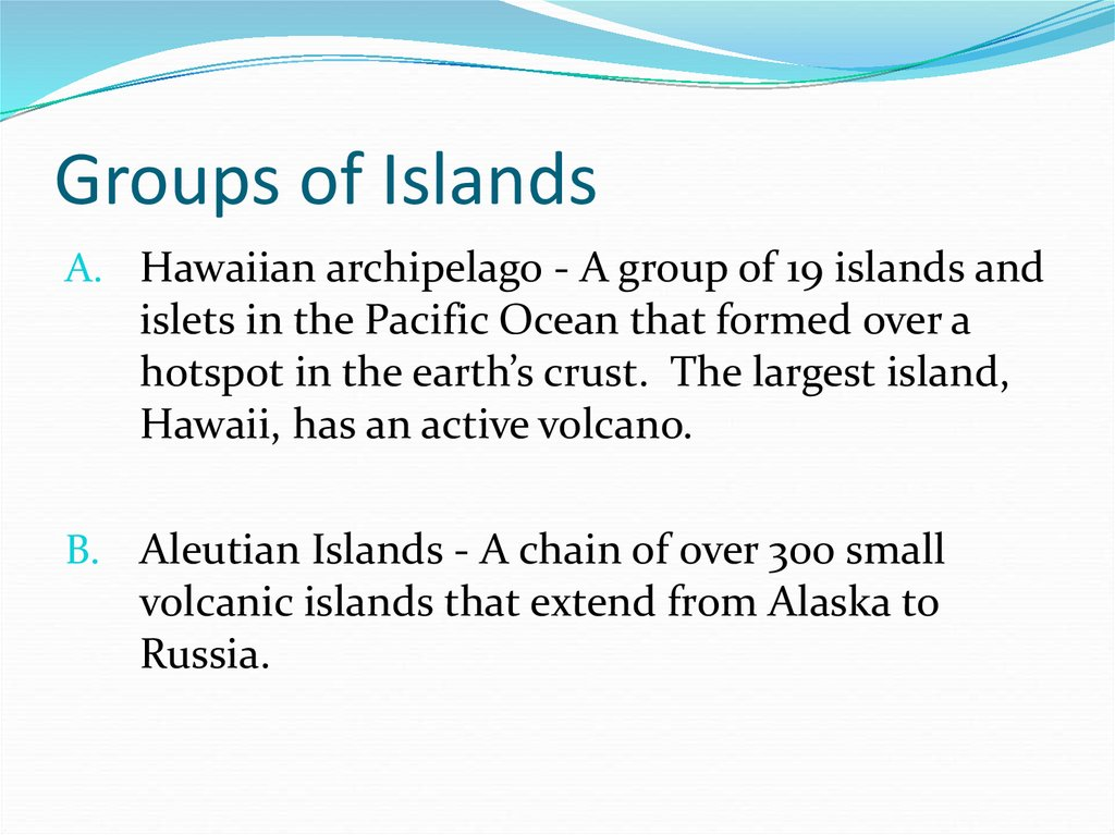 Groups of Islands