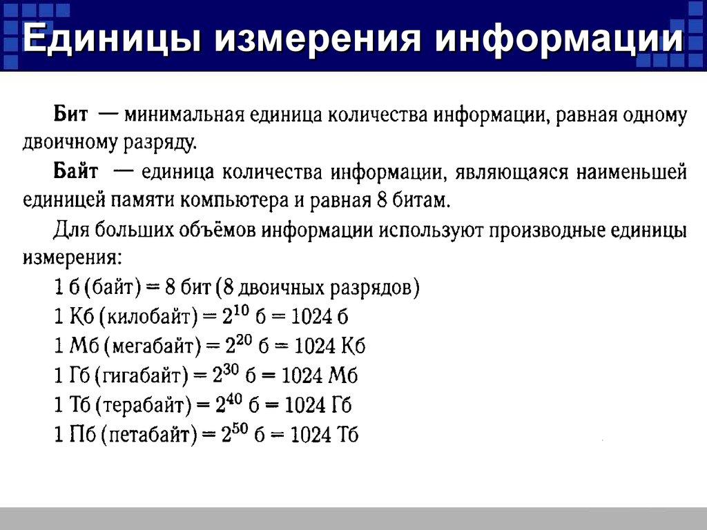 Единицы измерение информации задачи и решения задача к1 термех примеры решение