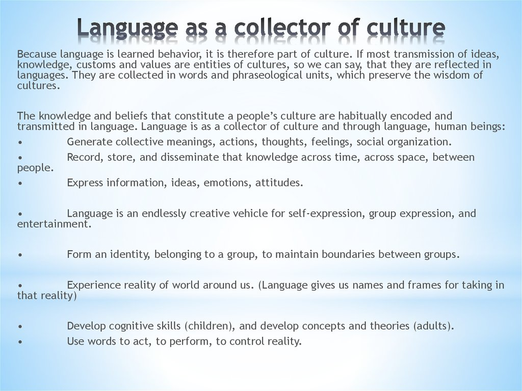 Language as a collector of culture