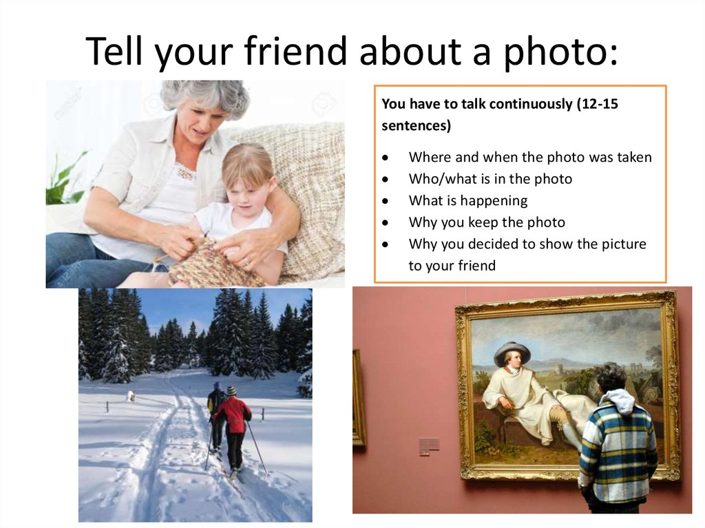 Tell your friend about a photo: