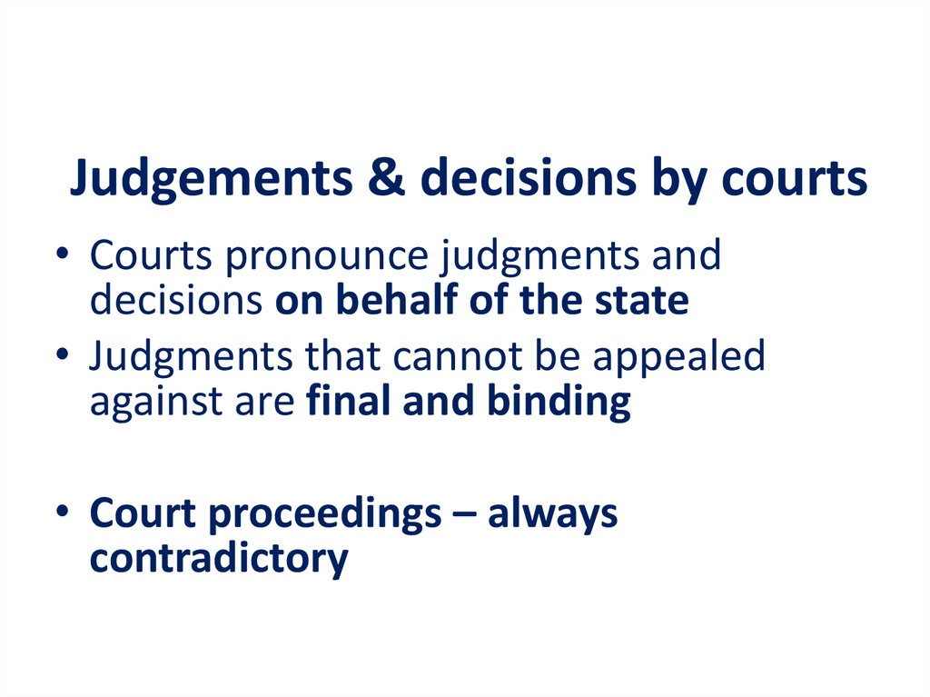 Judgements & decisions by courts
