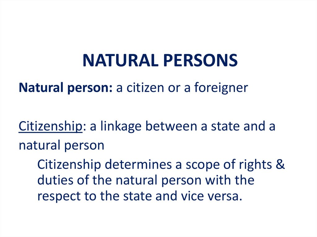 NATURAL PERSONS