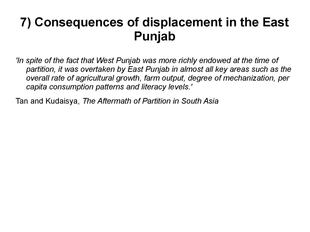 7) Consequences of displacement in the East Punjab
