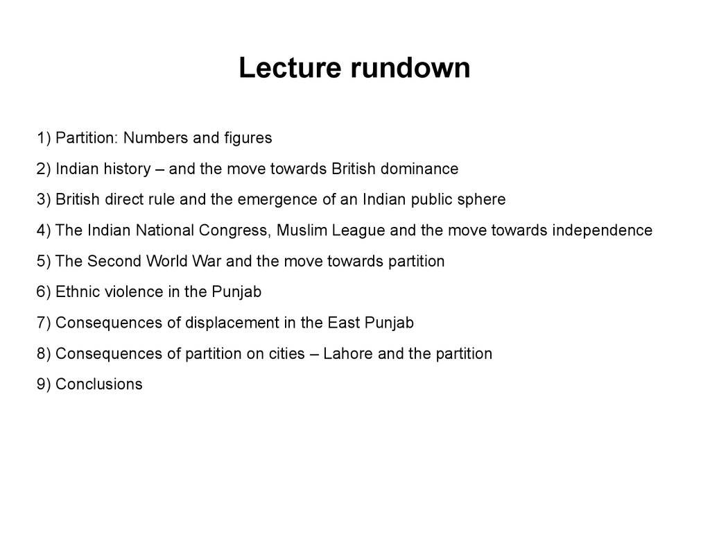 Lecture rundown