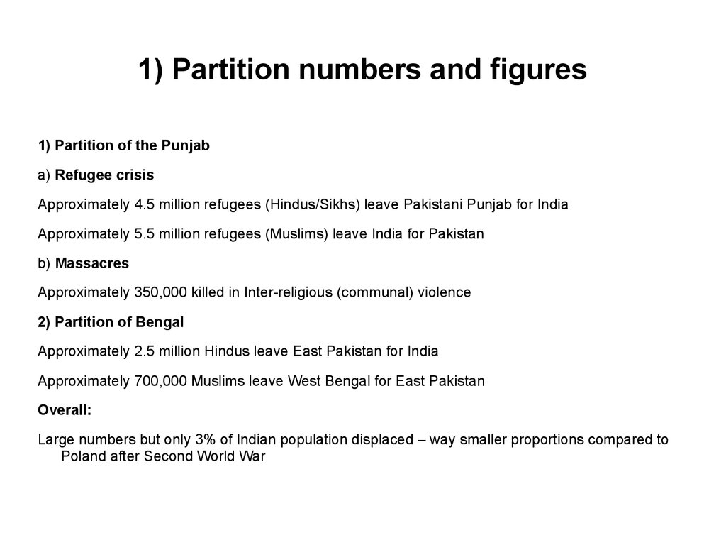 1) Partition numbers and figures