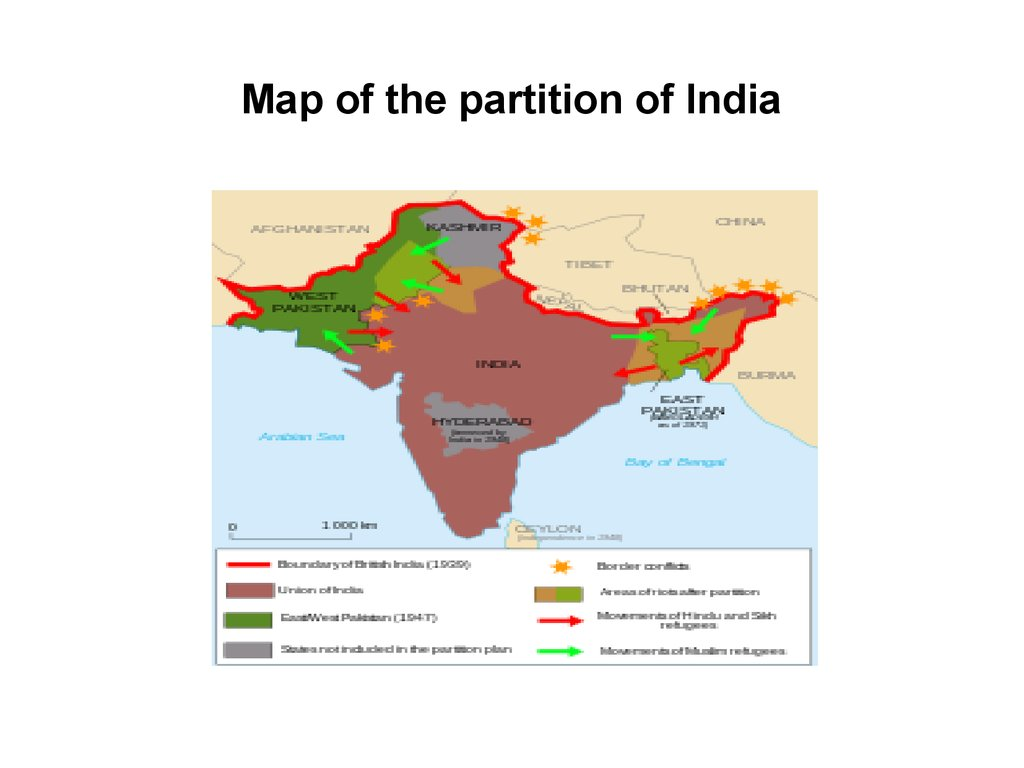 Map of the partition of India