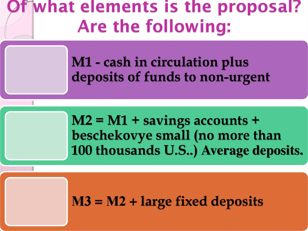 Of what elements is the proposal? Are the following: