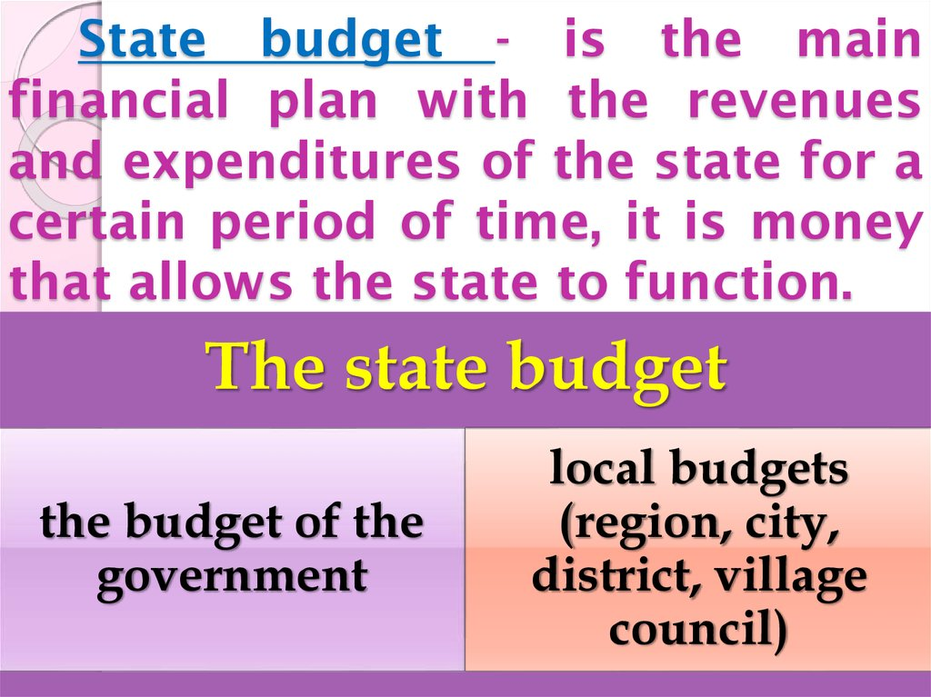 State budget - is the main financial plan with the revenues and expenditures of the state for a certain period of time, it is