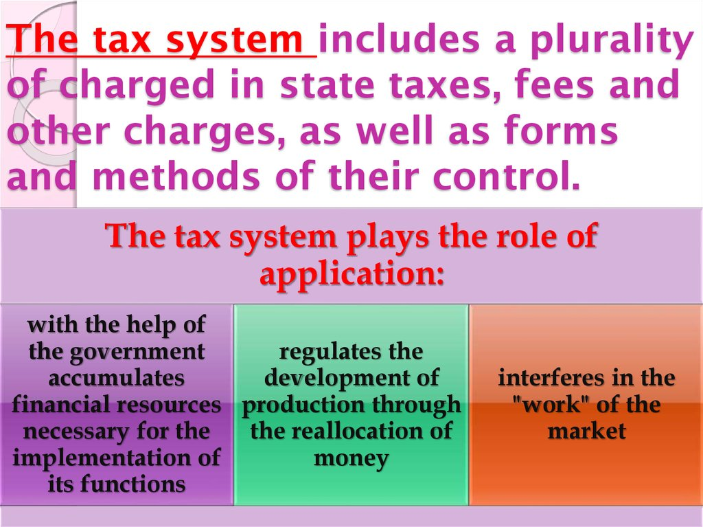The tax system includes a plurality of charged in state taxes, fees and other charges, as well as forms and methods of their