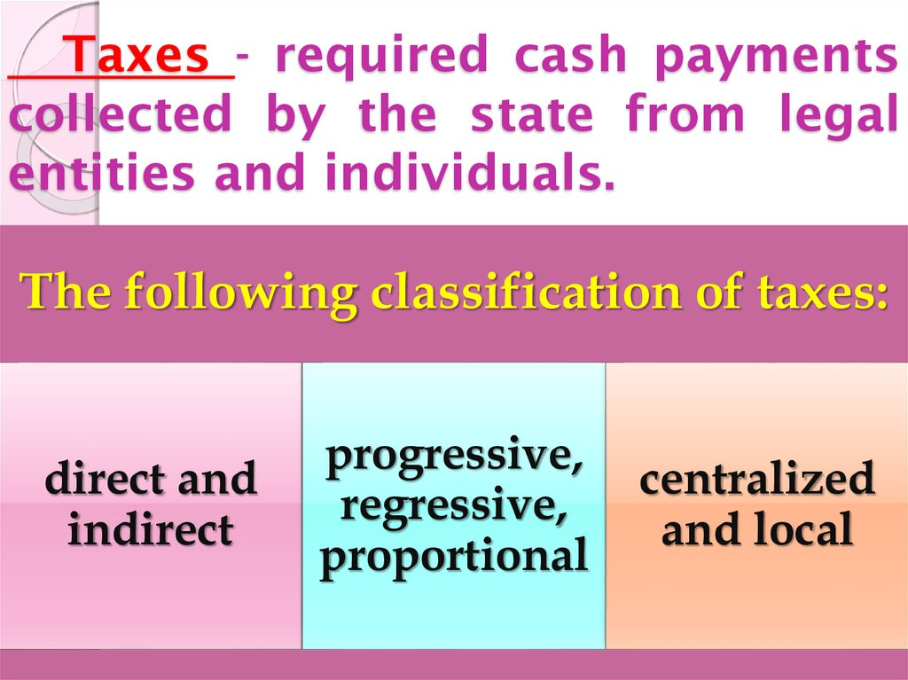 Taxes - required cash payments collected by the state from legal entities and individuals.
