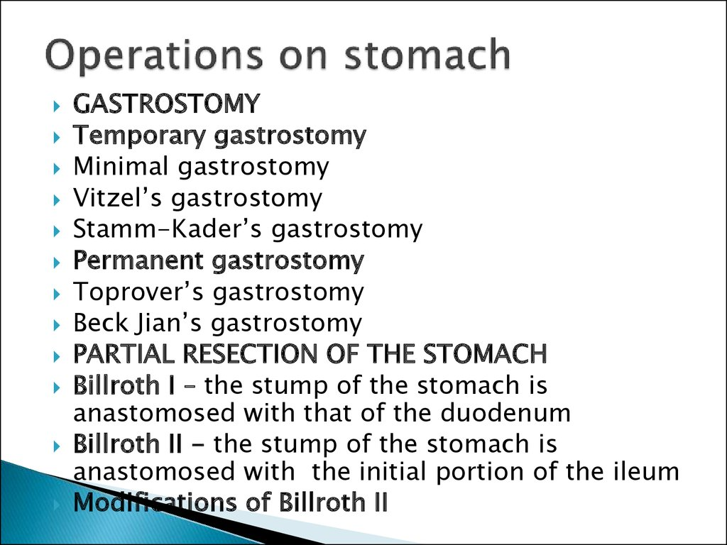 Operations on stomach