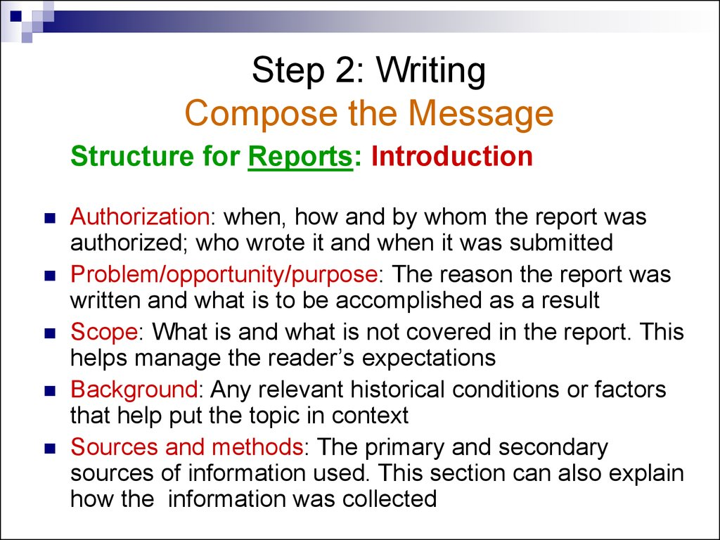 the first step in writing a report is to How to write a business report two parts: deciding what type of report to write writing a business report community q&a business reports are one of the most effective ways to communicate in today's business world although business reports' objectives are broad in scope, businesses or individuals can use them to help make important decisions.