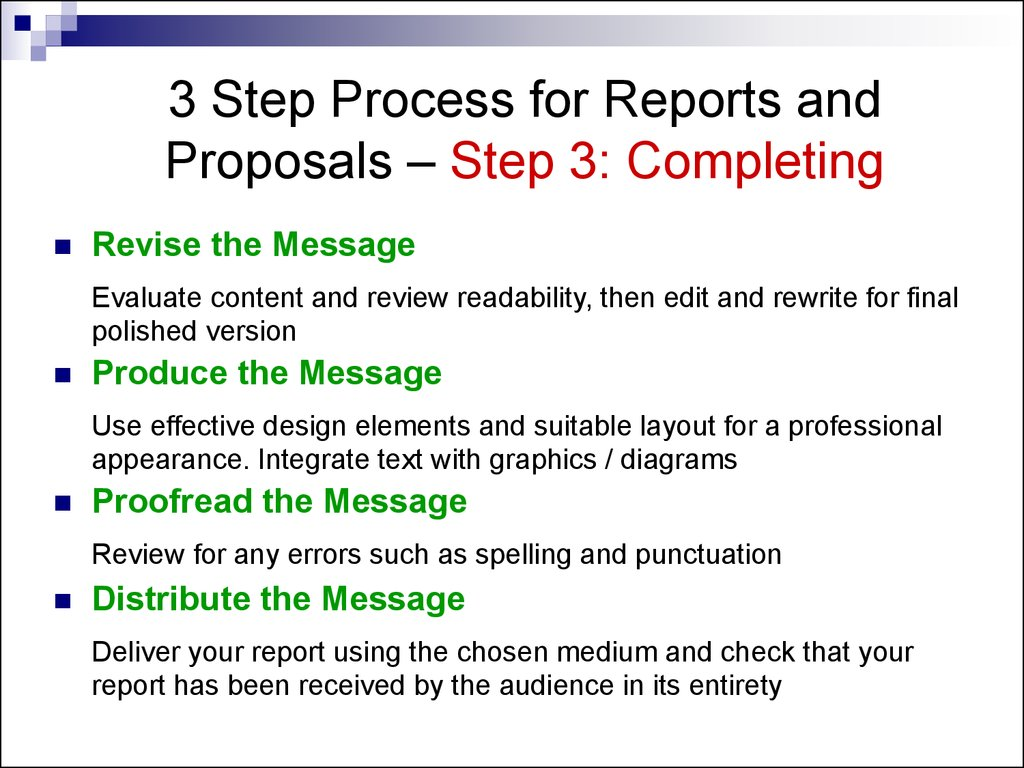 writing and completing reports and proposals Chapter overviews chapter 8: writing effective short reports and proposals short reports and proposals are among the most important and and completing the.