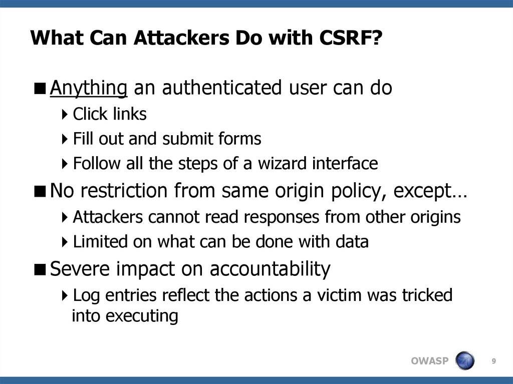 What Can Attackers Do with CSRF?