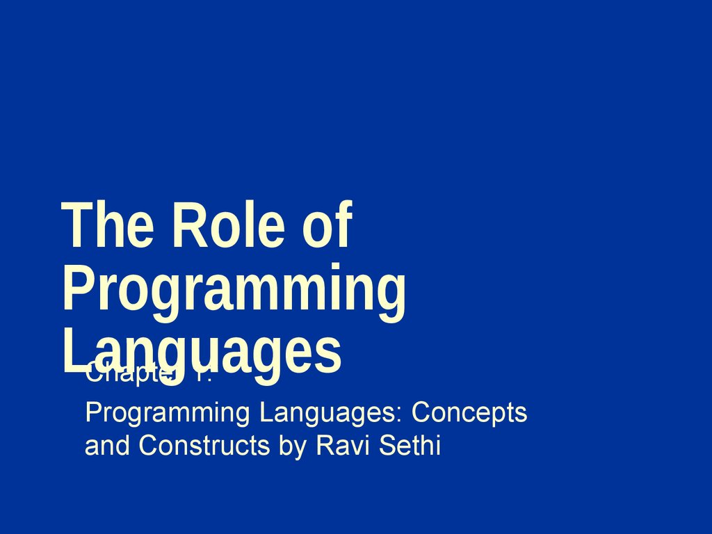 The Role of Programming Languages