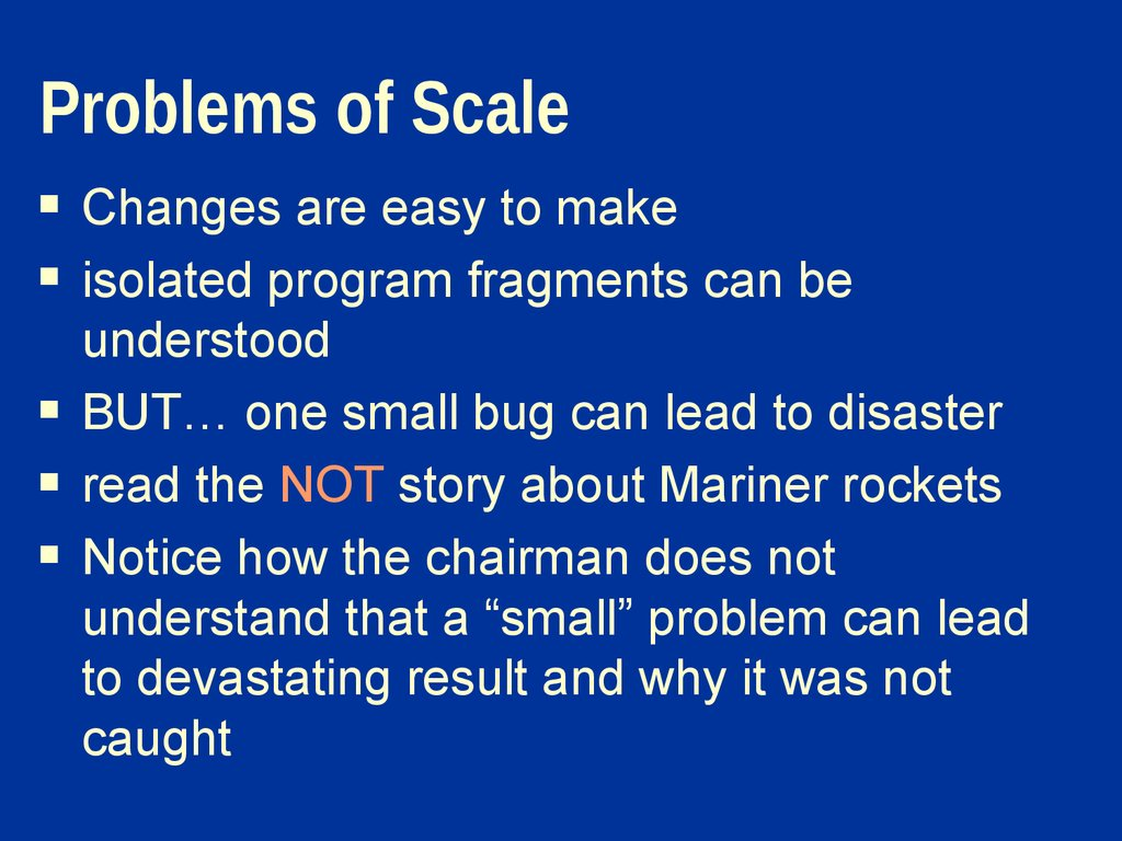 Problems of Scale