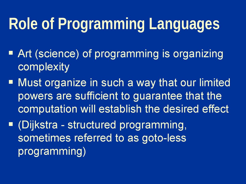 Role of Programming Languages