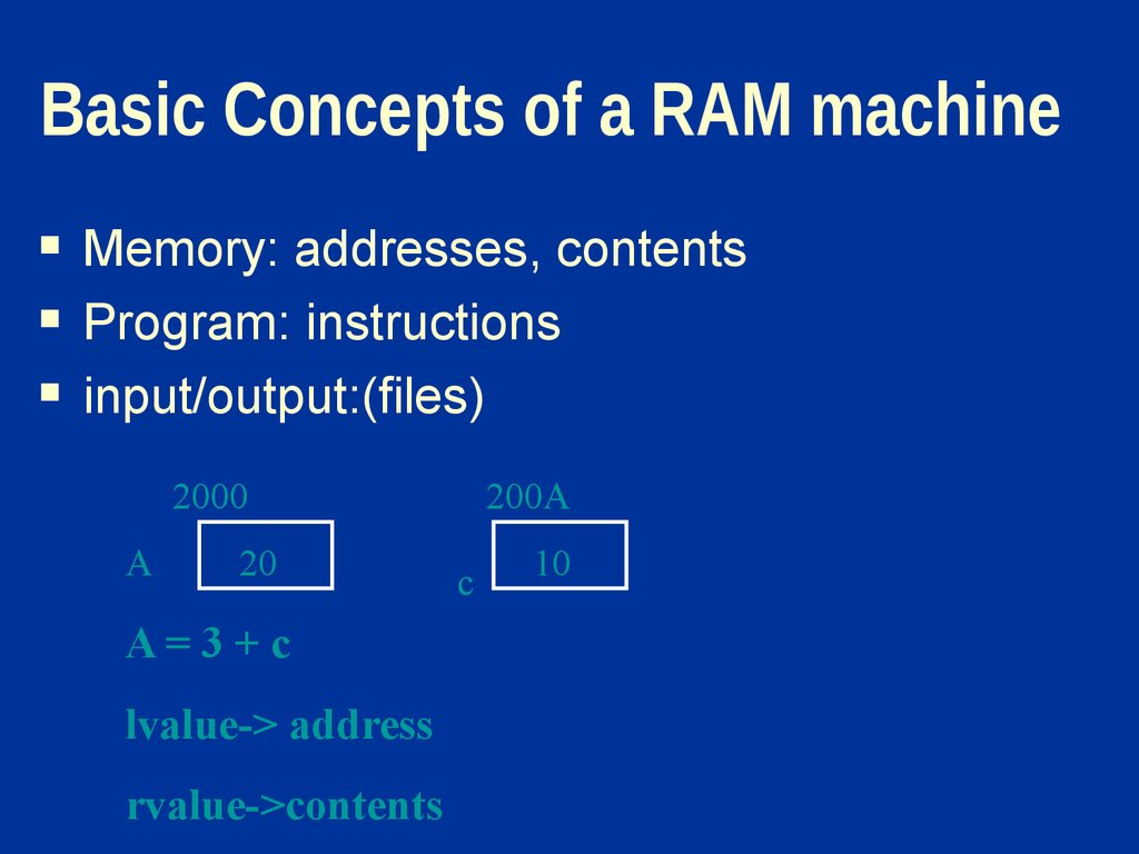 Basic Concepts of a RAM machine