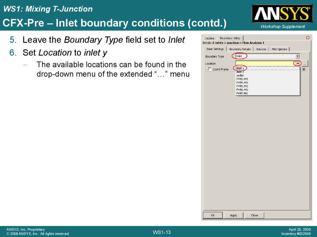 CFX-Pre – Inlet boundary conditions (contd.)