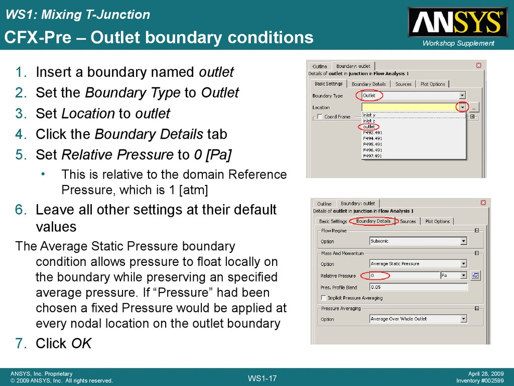 CFX-Pre – Outlet boundary conditions