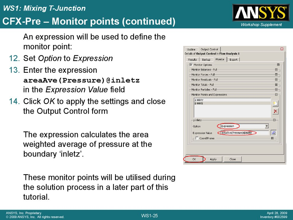 CFX-Pre – Monitor points (continued)