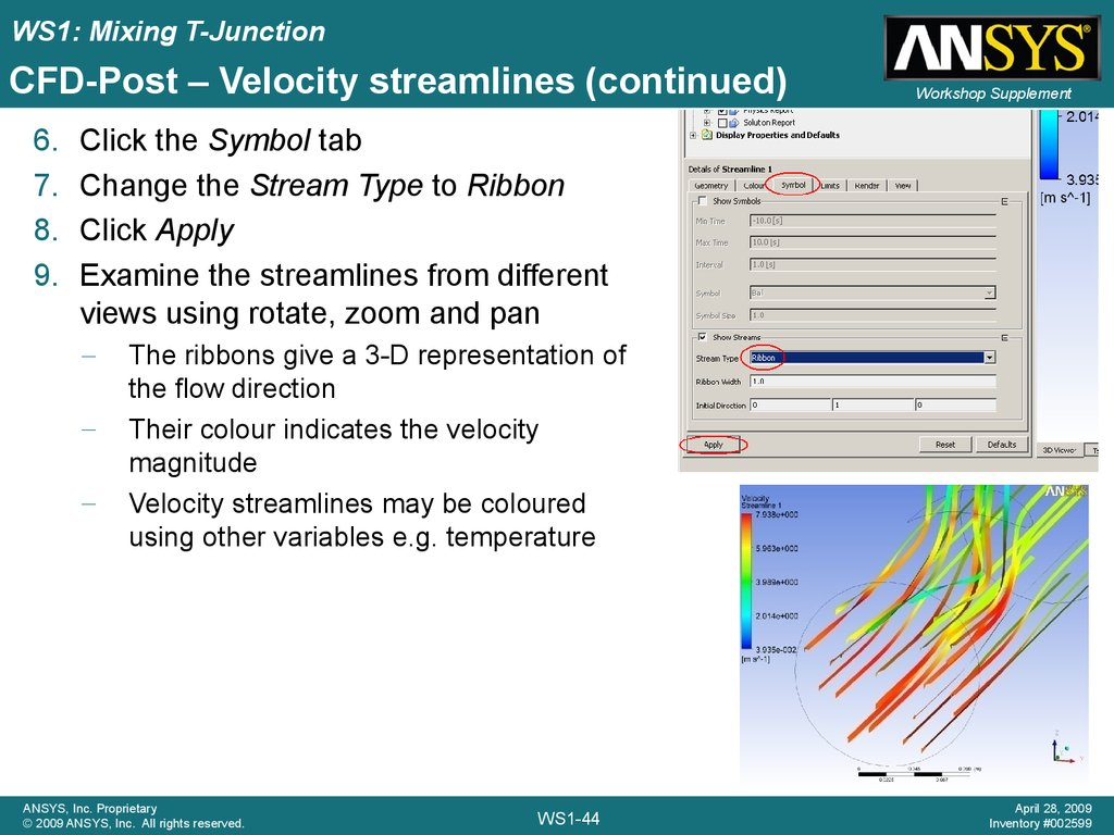 CFD-Post – Velocity streamlines (continued)