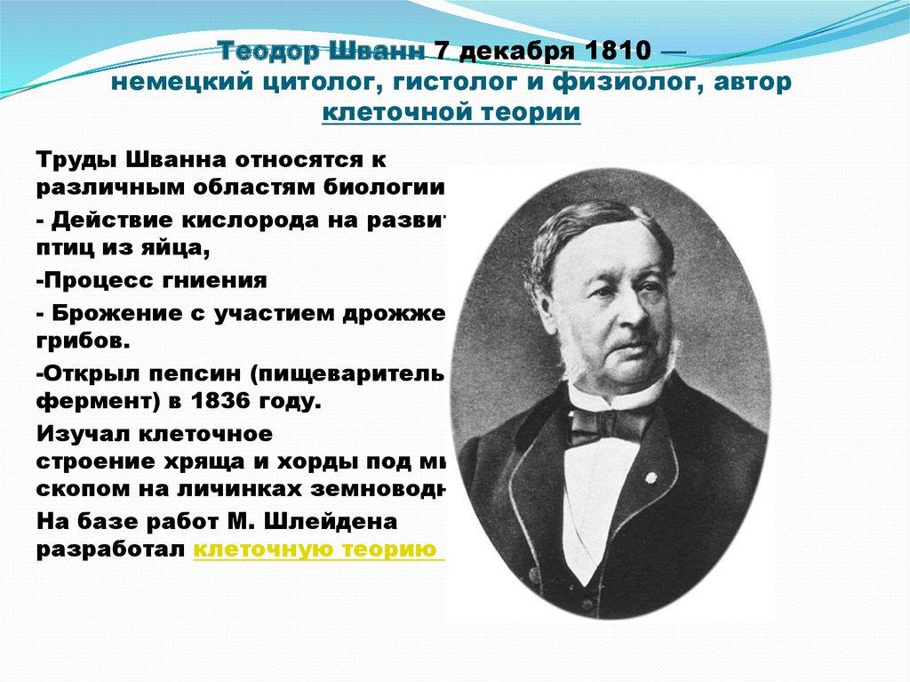 Теодор Шванн7декабря1810— немецкийцитолог,гистологифизиолог, автор клеточной теории
