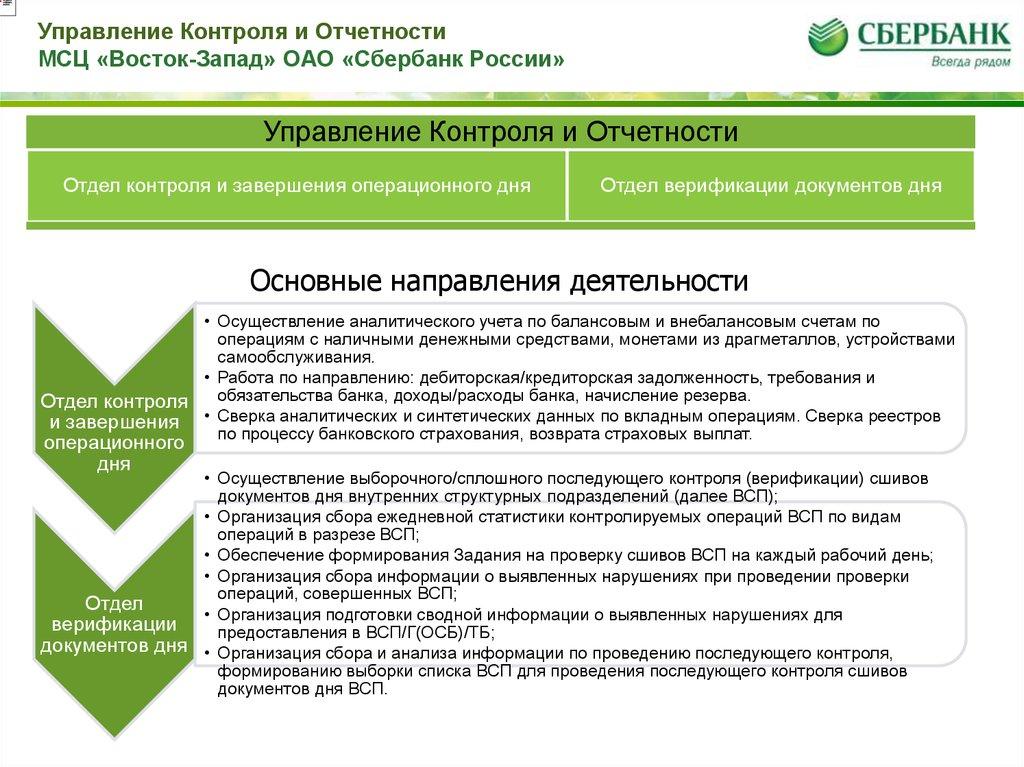 Отчет о прохождении учебной ознакомительной практики на МСЦ   Управление Контроля и Отчетности МСЦ Восток Запад ОАО Сбербанк России